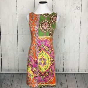 Peter Nygard Boho Yellow Pink Orange Green Dress